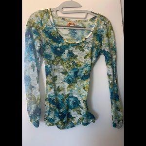 Long sleeve mesh floral blouse.